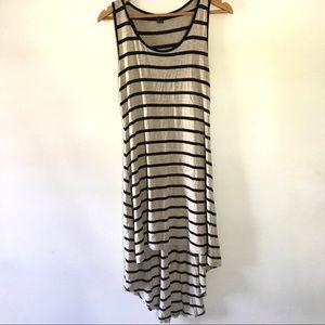 FOREVER 21 black tan striped hi-low dress large
